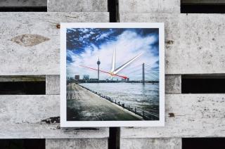 Wanduhr Düsseldorf Uhr Fernsehturm Rheinterrassen Quadrat Foto auf Holz
