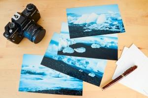 4er Set Island schwarzer Strand Eis Gletscher Eisberg Postkarten XXL Panorama