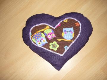Kirschkernkissen Herz - Wärmekissen - Kältekissen  - lila mit Eulen - Handarbeit kaufen
