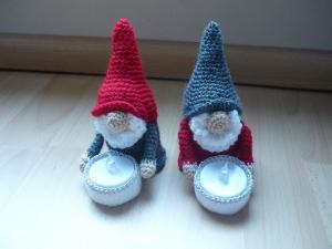 2 gehäkelte Wichtel - Teelichthalter inkl. LED Licht - Dekoration - Weihnachten - Handarbeit kaufen