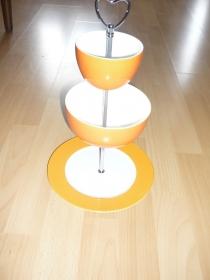 Handgefertigte 3-stöckige Etagere orange Töne / silber