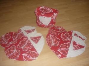 9teiliges Tischset – Brotkorb - Bestecktasche - Herzen - Patzset - Handarbeit kaufen