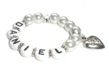 Taufarmband mit Perlen ♥ Babyarmband mit Name  - Handarbeit kaufen