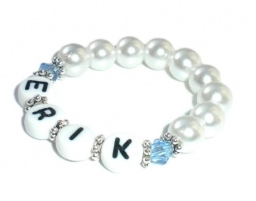 Taufarmband mit Kristall Perlen ♥ Babyarmband mit Name   - Handarbeit kaufen