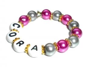 Taufarmband mit Perlen ♥ Babyarmband mit Name ♥  Perlenarmband für Kinder - Handarbeit kaufen