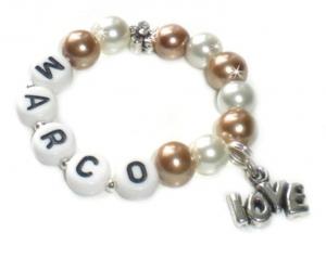 Taufarmband mit Perlen (Farbwahl) ♥ Babyarmband mit Name   - Handarbeit kaufen