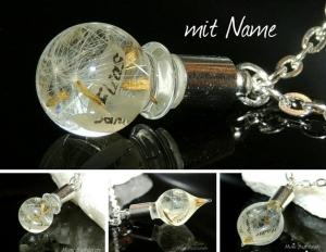 Pusteblumenkette, Namenskette ♥ Kette gefüllt mit PUSTEBLUMEN  - Handarbeit kaufen