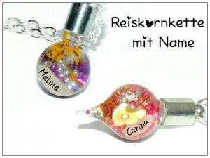 Namenskette mit Reiskorn ♥ Kette mit Name ♥ Reiskornkette  - Handarbeit kaufen