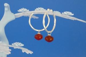 handgearbeitete Sterlingsilber-Ohrringe mit orangeroten Carneol-Perlen kaufen - Handarbeit kaufen