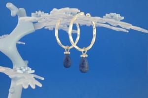 handgearbeitete Sterlingsilber-Ohrringe mit matten blaugrauen Dumortierit-Tropfen kaufen - Handarbeit kaufen