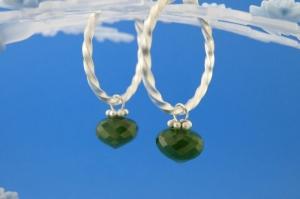 handgearbeitete Sterlingsilber-Ohrringe mit meergrünen facettierten Jade-Perlen kaufen - Handarbeit kaufen