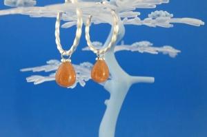 handgearbeitete Sterlingsilber-Ohrringe mit lachsfarbenen Sonnenstein-Pampeln kaufen - Handarbeit kaufen