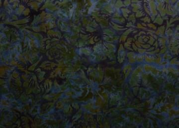 ✂ Batik Stoff Meterware edle Rosen dunkelblau und grün - Handarbeit kaufen