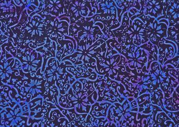 ✂ Batik Stoff Meterware gemustert dunkellila Blumen