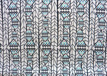 ✂ Art Gallery Patchwork-Designerstoff Ethno weißgrundig - schwarz - türkis - Handarbeit kaufen