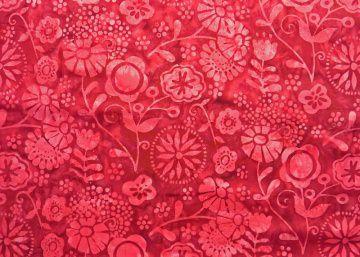✂ Patchworkstoff Meterware Batik 3343-403 rote Blümchen