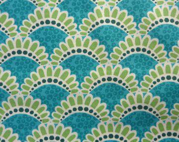 ✂ Patchworkstoff Meterware kleine Blumen in türkis von Emma Jean Jansen  - Handarbeit kaufen