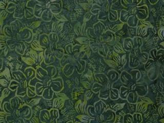 ✂ Patchworkstoff Meterware  wunderbarer grüner Batikstoff  mit Blumen (Restposten) - Handarbeit kaufen
