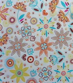 ✂ Patchworkstoff Meterware bunte Blumen auf weißem Hintergrund