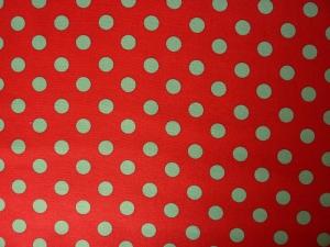 ✂ Patchworkstoff Meterware Tante Ema grüne Punkte auf roten Hintergrund