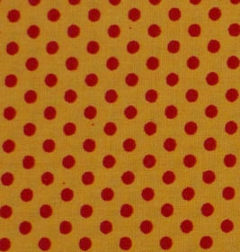 ✂ Patchworkstoff Meterware kleine orange Punkte auf gelben Hintergrund