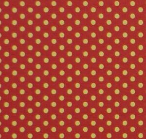 ✂ Patchworkstoff Meterware kleine gelbe Punkte auf orangen Hintergrund