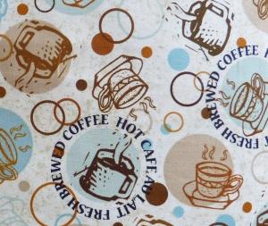 ✂ Patchworkstoff Meterware Caffe Latte Tassen hell