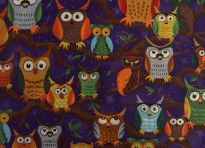 ✂ Patchworkstoff Meterware  Paintbrush Night Owls dunkel