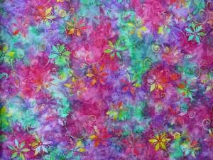 ✂ Patchworkstoff Meterware  Eyelike Fabrics Batik bunte Blumen in türkis, pink, lila