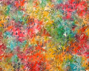 ✂ Patchworkstoff Meterware  Eyelike Fabrics Batik Blätter auf buntem Hintergrund