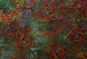 ✂ Patchworkstoff Meterware  Marbleshead 429 rot-grün-rost