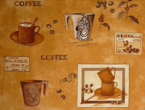 ✂ Patchworkstoff Meterware Coffee Journey Pattern dunkel - Handarbeit kaufen