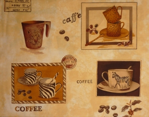 ✂ Patchworkstoff Meterware Coffee Journey Pattern hell - Handarbeit kaufen