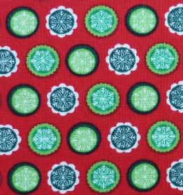 amerikanischer Patchworkstoff Meterware Tante Ema Kreise auf rotem Hintergrund - Handarbeit kaufen