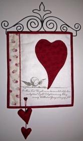 ✂ Materialpackung mit Anleitung für Herz auf Leinenband einschließlich Bügel - Handarbeit kaufen