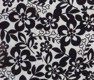 ✂ Patchworkstoff Meterware kleine Blumen schwarz-weiß