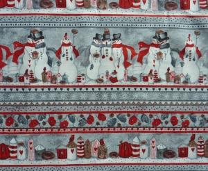 ✂ Patchworkstoff Meterware Weihnachtsstoffe Bordüre Snowman - Handarbeit kaufen