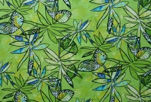 ✂ Patchworkstoff Meterware großflächige Blumen auf leuchtendem grünen Hintergrund - Handarbeit kaufen