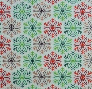 ✂ Patchworkstoff Meterware Weihnachtsstoffe Tante Ema Eiskristalle grün.rot-braun