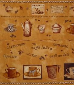 ✂ Patchworkstoff Meterware Coffee Journey Pattern Bordüre - Handarbeit kaufen