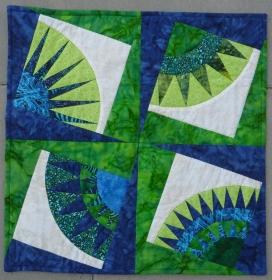 ♥ Kissenbezug in modernem Muster in blau-grün - Handarbeit kaufen
