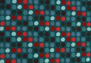 ✂ Patchworkstoffe Meterware Punkte in verschiedenen Farben auf türkisfarbenem Hintergrund
