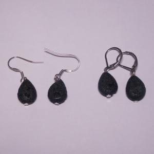 Ein Tropfen schwarzes Lava als Ohrschmuck, Brisur oder Haken zur Auswahl