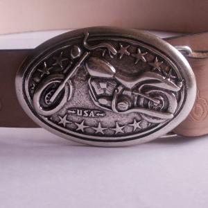 Motorrad - Ledergürtel mit ovaler silberfarbener Schnalle Motorrad , Schnalle auswechselbar Wechselschnalle