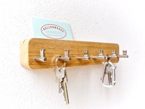 SchlüsselBrett Eiche massiv (6 Haken) handgefertigt