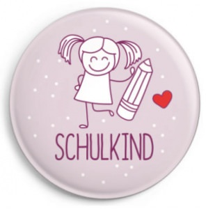 Schulkind Button für Mädchen (inkl . kleinem Kärtchen), rosa, Ø 31 mm