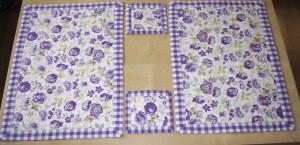 Platzset und Mug-Rugs 2 er Set, Nr. 222, violett / Handarbeit genäht