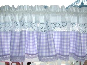 Landhausgardine, violett Nr. 221 / 100% Bw / Handarbeit, Näharbeit