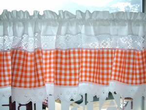 Landhaus,- Scheibengardine orange Nr. 204, 100% Bw