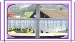 Landhausgardine, weißer Baumwollstoff mit Spitze, Nr. 406